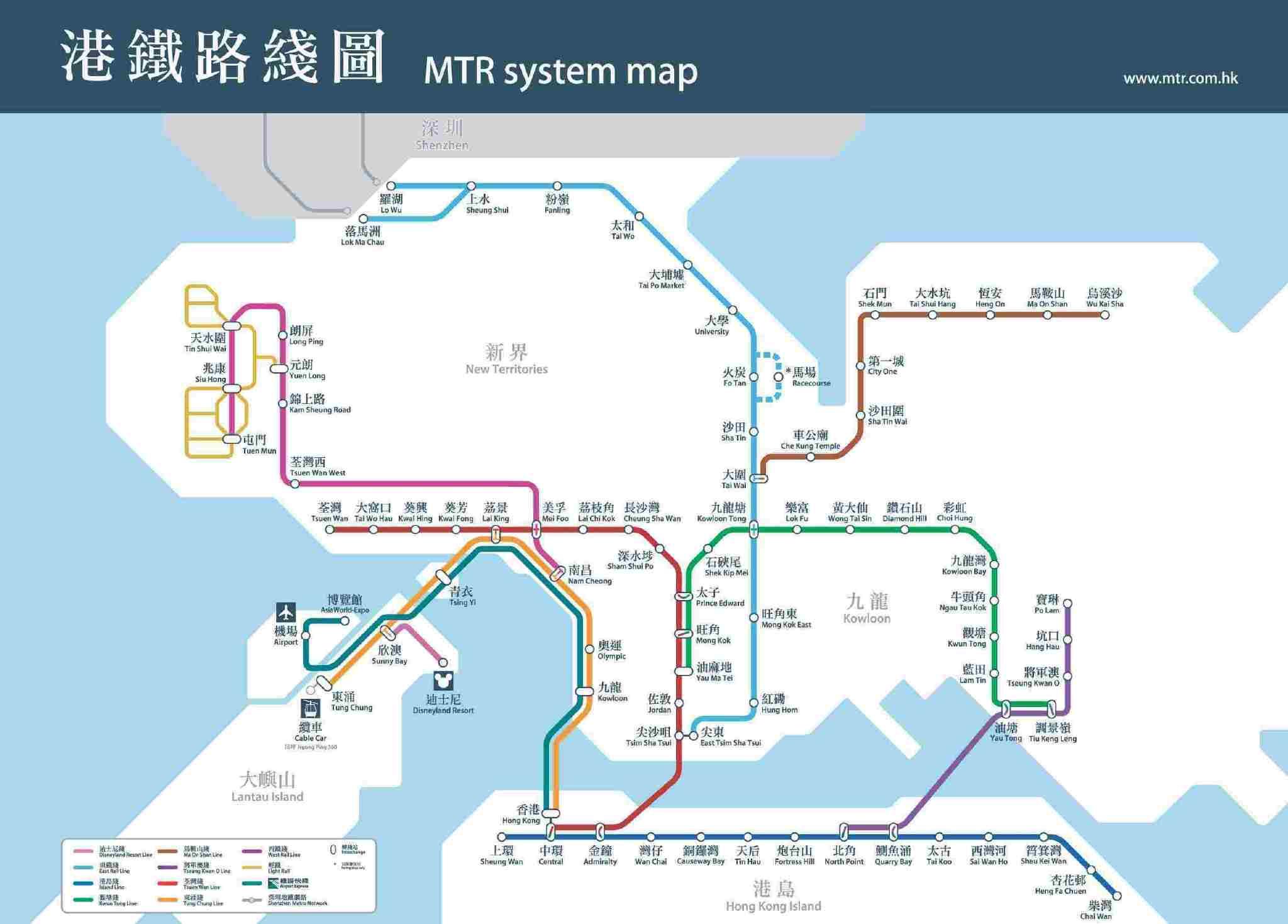 地香港铁站图